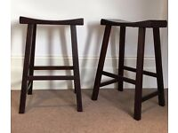 Solid Wooden Barstools - Set of 2
