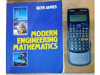 Modern Engineering Mathematics book, and Casio fx-83 GT-Plus Digital Scientific Calculator