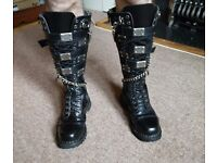 Goth/Metal DEMONIA RIOT 20 LACE UP AND BUCKLE STRAP LEATHER KNEE Boots