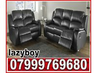 sofa black real leather B R A N D NEW recliner
