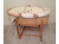 Mamas and Papas moses basket with rocking stand - RRP £100