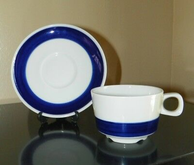 "White Porcelain ""Bistro Style-Blue Stripe"" Cup & Saucer-Bauscher Weiden-Germany"