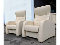 Pair of John Lewis leather recliner chairs DELIVERY AVAILABLE