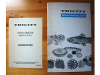 Vintage 1970s? Tricity home freezing book/Tricity freezer model 6133 freezer guarantee card. £2 both