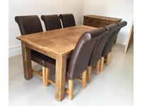 Rustic Plank Solid Wood Dining Table And 6 Leather Chairs