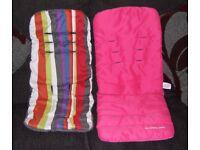 2 x Mothercare Pram Seat Liner Pink Girl Khaki Striped Pushchair Stroller Nanu