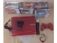 Playstation 3 - Slim - SCARLET RED - Limited Edition - 500 GB - TWO CONTROLLERS AND GAMES INCLUDED.