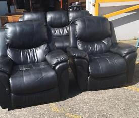 ** BLACK LEATHER SUITE - RECLINER CHAIRS - CAN DELIVER **