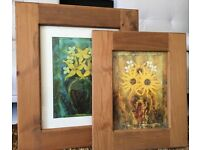 Solid pine picture frames x2