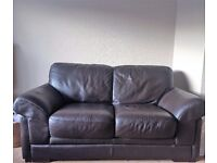 Dark Brown Solid Leather Sofas