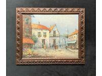 'Bowman' Original 20thc Carved Oak Framed Continental Impressionist Oil Painting