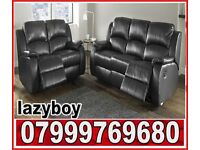 lazy..boy 3 + 2 black leather recliner sofa set with free pouffe