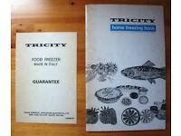 VINTAGE TRICITY:1970s home freezing book & Tricity freezer model 6133 freezer guarantee card.£2 both