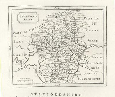 c1780 Original Antique Map STAFFORDSHIRE by John Seller / Francis Grose (GR)