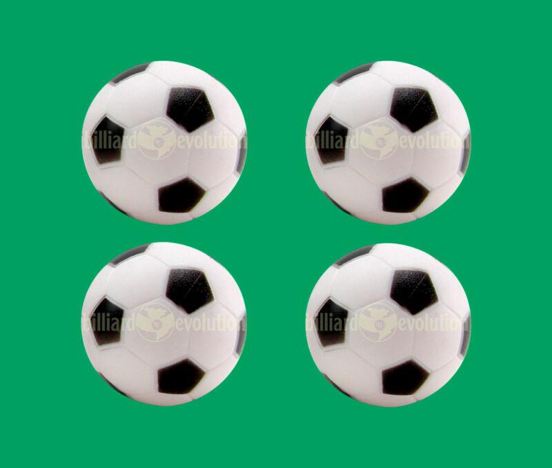 4 Soccer Foosballs - Black & White Engraved Table Soccer Balls