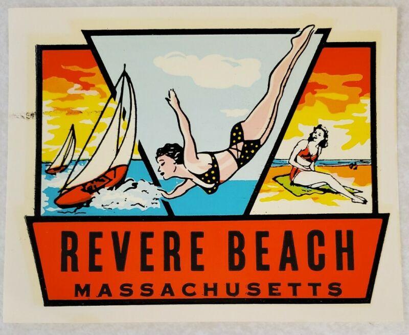 Revere Beach Massachusetts Water Transfer Car Windshield Decal Vintage Original