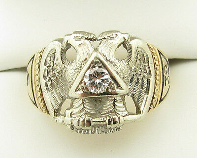 Vtg 14k Yellow White Gold Diamond 32nd Degree Masonic Enamel Eagle Ring -11.5g-