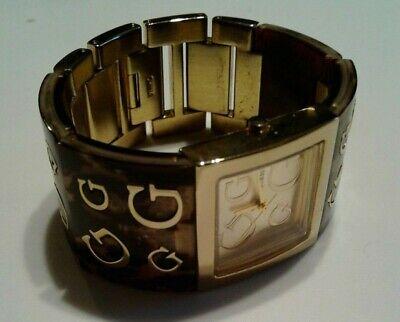 Guess Women's TIMELESS G Brown Resin Quartz Watch Gold Dial Watch
