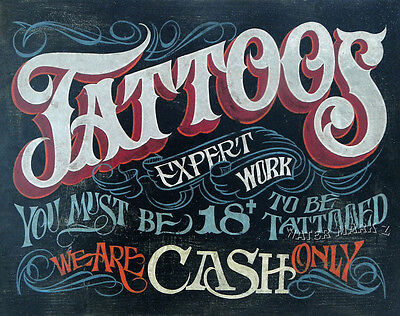 Tattoo Shop Policy Print  Must art decor print vintage style ink Must be 18 ()