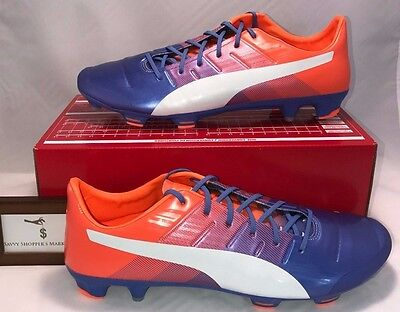 83696bbef7b Puma Mens Size 13 Evopower 1.3 Fg Form Ground Soccer Cleat Blue White  Orange New