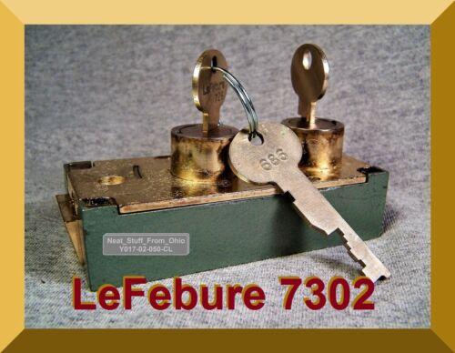LeFEBURE SAFE DEPOSIT BOX LOCK with TWO FLAT KEYS (1 DEPOSITOR & 1 GUARD KEY)