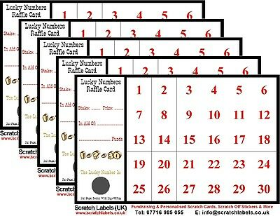 Lucky Numbers Fundraising Raffle/Scratch Cards (10 x 30 Numbers), New
