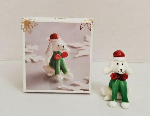 "Pier 1 Imports Glass Christmas Dog 2"" White Puppy Poodle Santa Hat Figurine Box"