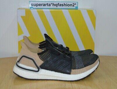 Adidas Ultraboost 19 Core Black Raw Sand Sneakers F35241 Size UK 10 RRP £160