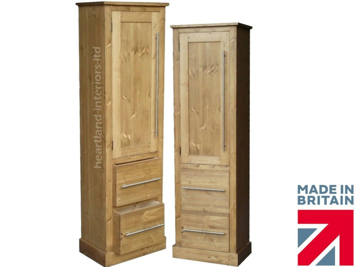 Solid Wood Slim Cupboard Tall Linen Pantry Hallway Kitchen Storage Cabinet Ebay