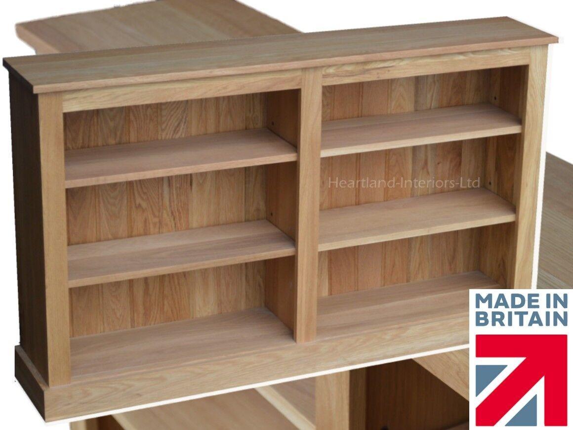 Solid Oak Low Bookcase, 5ft Wide Split Adjustable Book Display Shelving Unit - Solid Oak Bookcase, Low, 6ft Wide Split Adjustable Display