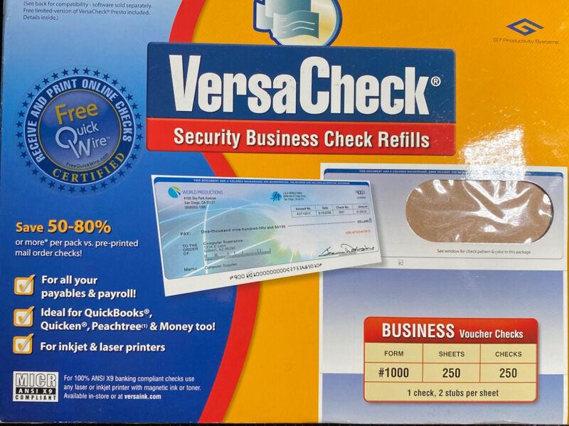 VersaCheck Security Business Voucher Check Refills: Form #1000 Blue