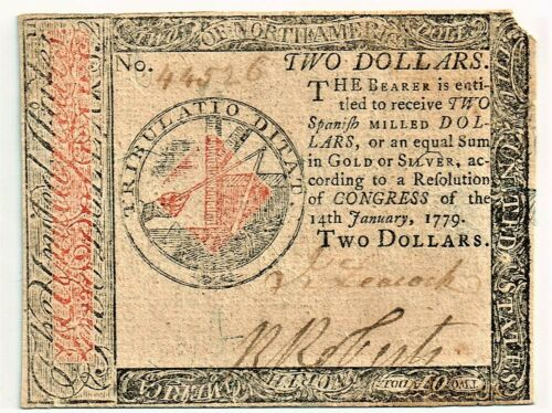 Continental Currency January 14, 1779 $2. High Grade!