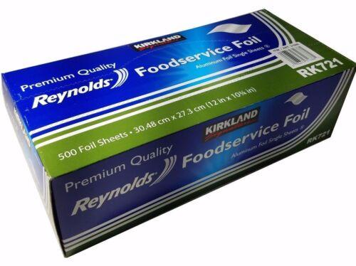 "Kirkland Reynolds Premium Foodservice Aluminum Foil 12x10.75"" Singles 500 Sheets"
