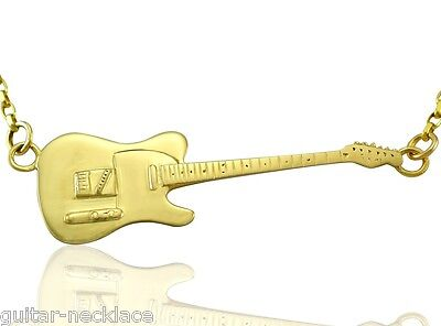 Mens Solid Gold Rick Parfitt Fender Telecaster Electric Guitar Necklace 9ct - 9k