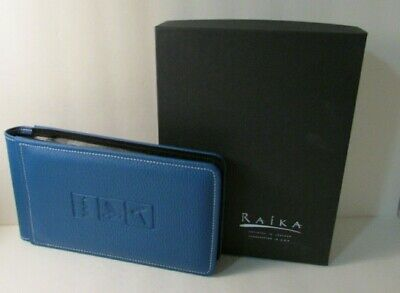 Blue Leather Album - RAIKA blue Leather Photo Album Made in the USA  holds 60 4x6 photos