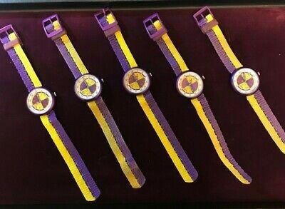 Vintage 1992 Kids Flik Flak LOT OF 5, Swiss Quartz Purple & Gold Watch by Swatch