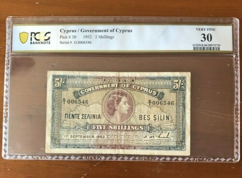 Government of Cyprus 1952 5 Shillings Note Pick# 30 - PCGS VF 30 - Low Serial #
