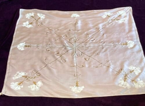 Vintage Silk Hand Printed Scarf by Vera Neumann, Pink with White Floral Pattern