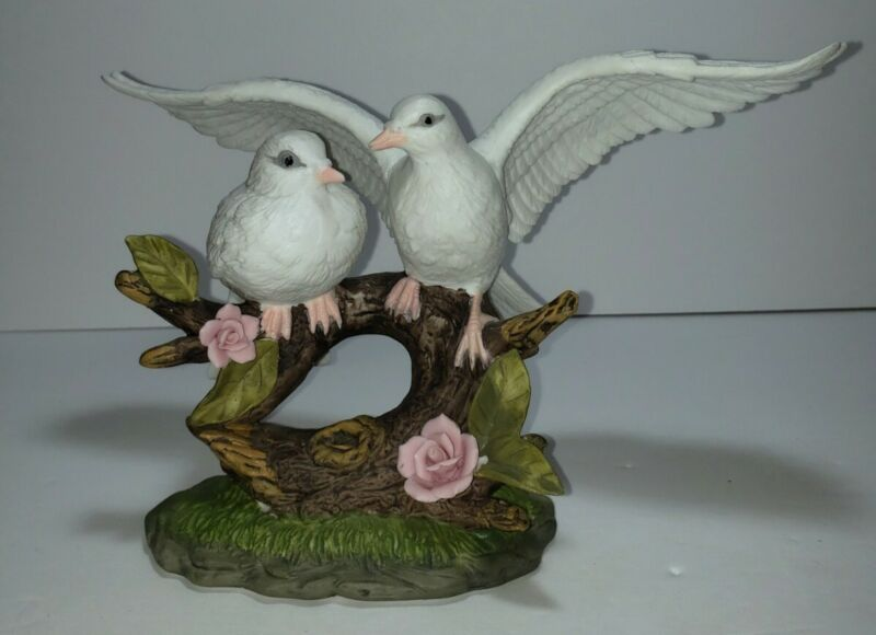 Wellington Collection White Doves Porcelain Figurine Birds Pink Rose. Very Nice.