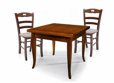 Tavolo legno allungabile quadrato + 4 sedie legno massello seduta in legno
