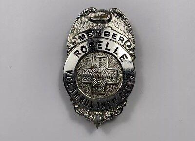 Vintage Roselle Volunteer Ambulance Corps Memeber Fire Department Badge