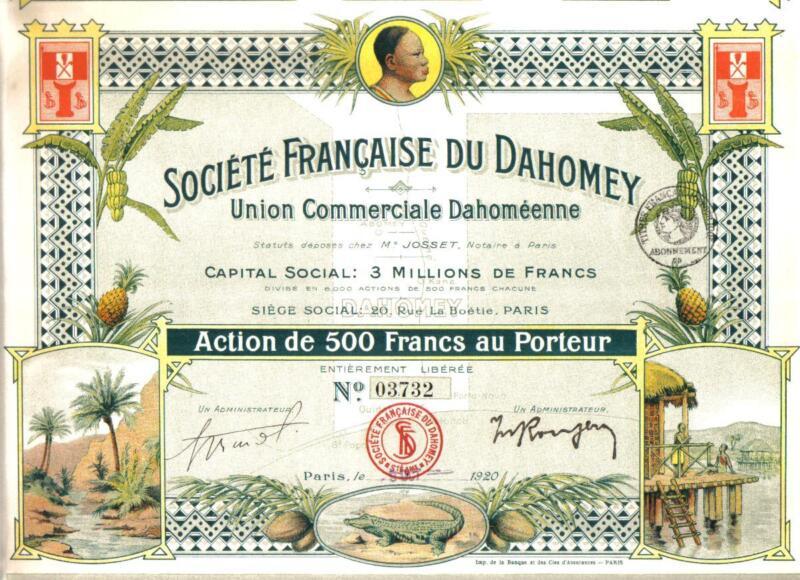 Africa Benin Bond 1920 France Company Dahomey 500fr Uncancelled coupons TOP Deco