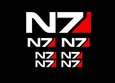 Mass Effect Sheet of N7 Decals / Stickers (Set of 7) Vinyl Decal for Car, Boots