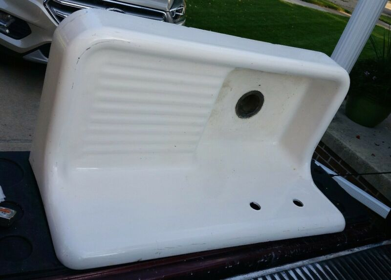 "42"" Cast Iron White Porcelain 17.5"" High Back Farm Sink Standard Sanitary 1928"