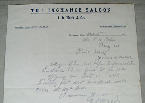 #455 - old 1907 THE EXCHANGE SALOON / BELGRADE MONTANA letterhead HECK & CO.