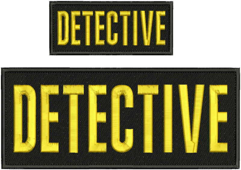 Detective embroidery patch 4X10 and 2x5 Gold LETTERS