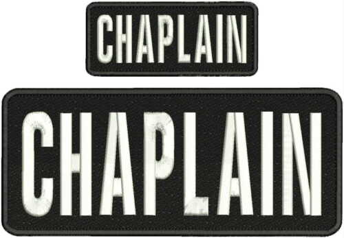 "CHAPLAIN Embroidery Patches 4 X 10"" and 2x5 hook and loop  on back blk/white"