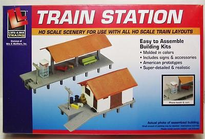 HO Scale Train Station Passenger Freight Building Kit Train Set Scenery 433-1347 Toys