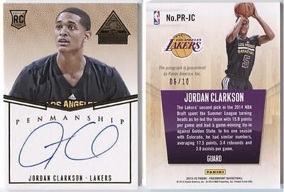 Jordan Clarkson 2014 15 Panini Paramount Gold Auto Rc 6 10 Jersey   1 1 Rookie