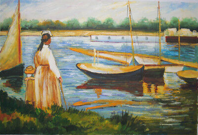 handgemalte Repr. d. Ölgemäldes,Manet,The Banks of the Seine at Argenteuil,40x60